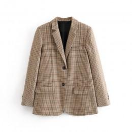 Aachoae moda biurowa, damska komplet garniturów damski zestaw dwuczęściowy Houndstooth pojedyncze piersi marynarka z wysokiej ta