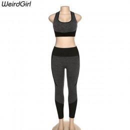Weirdgirl zestawy dla kobiet 2 kawałki dres fitness Vintage elastyczny podkoszulek z klockami długie wysokie legginsy w wysoką t