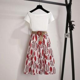 Kobiety lato T koszula 2-sztuka zestaw Off ramię podstawowe koszulki + wysoka talia liść drukuj spódnica zestawy moda garnitur z