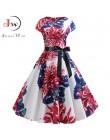 2019 kobiet letnia sukienka w stylu Vintage, w kwiaty drukuj sukienka Rockabilly szata Femme Sundress Vestidos Plus rozmiar Polk
