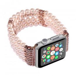Ozdobne perłowe paski na gumce z ozdobnymi cyrkoniami wymienne do smart watch modne oryginalne