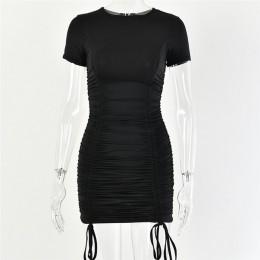 Articat biała Ruched plisowana sukienka bodycon kobiety sznurkiem z krótkim rękawem mini impreza sukienka jednolity, w stylu bas