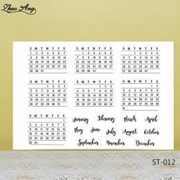 ZhuoAng tydzień i miesiąc styl kalendarz wyczyść znaczki/uszczelki dla DIY Scrapbooking/tworzenie kartek/Album dekoracyjne silik