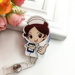 1pc Cute Cartoon chowany odznaka Reel studenci pielęgniarka wystawa Pull Key ID etykieta z imieniem pokrowiec na karty zaopatrze