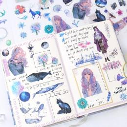 6 arkuszy/paczka Kawaii papiernicze naklejki śliczne wieloryby naklejki piękne naklejki papierowe dla dzieci DIY pamiętnik Scrap