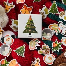 50 sztuk/pudło choinki naklejki Kawaii Deer naklejki samoprzylepne śliczne naklejki Decor Scrapbooking Diary albumy śliczne Pape