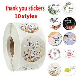 500 sztuk/rolka 10 rodzajów kwiatowe naklejki z napisem thank you for seal label scrapbooking christmas sticke naklejka dekoracy