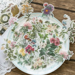60 sztuk naklejki podróżne Vintage retro zielony rośliny kwiaty Washi artykuły papiernicze naklejki dekoracje Scrapbooking Diary