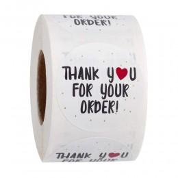 500 szt. Okrągłe dziękuję za zamówienie naklejka serce dzięki za zakupy mały sklep lokalna naklejka wykonana ręcznie białe etyki