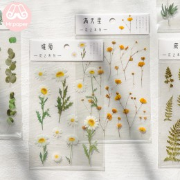 Mr.Paper 12 wzorów Natural Daisy Clover japońskie słowa naklejki przezroczysty materiał PET kwiaty liście rośliny naklejki dekor