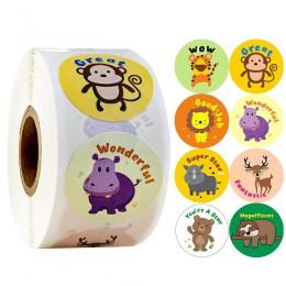 500 sztuk/rolka cute cartoon naklejki ze zwierzętami journal scrapbooking nauczyciel zachęta naklejka używana jako nagroda dla d