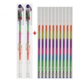 10 wkładów + 2 zestaw długopisów 6 kolorów tęczowy długopis żelowy szkolne materiały biurowe Graffiti Mark papiernicze dzieci uc