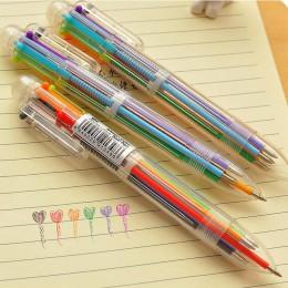 1 sztuk/partia 6 w 1 kolorowe długopisy nowość długopis wielokolorowy wielofunkcyjny papiernicze artykuły szkolne