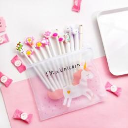 10 sztuk długopis żelowy w stylu Kawaii losowy styl i jednorożec piórniki dla dziewczynek śliczne papiernicze szkolne materiały