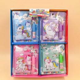 Kawaii Unicorn Flamingo mini notebook długopis zestaw długopisów piękne notatniki długopisy kreatywne artykuły papiernicze preze
