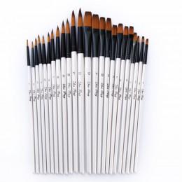12 sztuk/zestaw nylonowe włosy akwarela zestaw pędzelków do nauki DIY drewniany uchwyt olej akrylowy malarstwo pędzelki artystyc