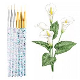 3 sztuk/zestaw brokatowe cekiny uchwyt nylonowy pędzel akrylowy akwarela gwasz szczotka do paznokci zestaw długopisów dla artyst