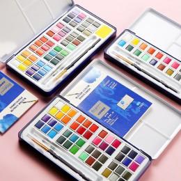 18/24/36/48 kolory stałe akwarele zestaw metalowe żelazne pudełko akwarela malarstwo Pigment kieszonkowy zestaw do rysowania art