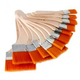 Płaski, nylonowy drewniany długopis do włosów pędzel do farb olejnych akrylowe pędzle malarskie szczotki do szorowania dla dziec