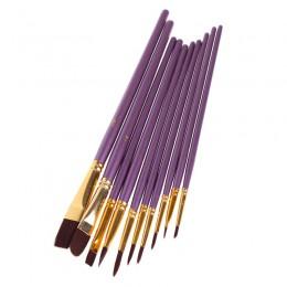 10 sztuk fioletowy zestaw pędzli artysty nylonowe włosy akwarela obraz olejny akrylowy szczotki do rysowania artystycznego Suppl