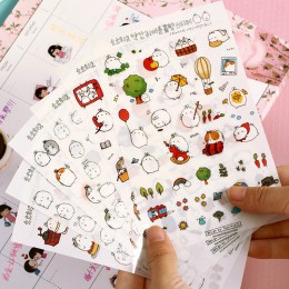 6 sztuk Molang królik kreskówka dekoracyjne naklejki naklejki na telefon komórkowy artykuły papiernicze Diy naklejki na album ma