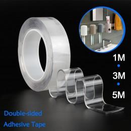 1/2/3/5m wielokrotnego użytku klej dwustronny Nano przezroczysta taśma zdejmowana naklejka zmywalny klej pętli tarcze krawat kle