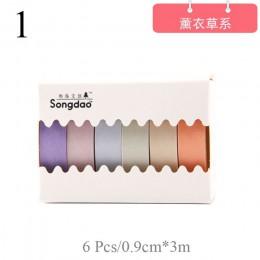 6 sztuk/zestaw kawaii cukierki kolor taśma Washi śliczne taśma maskująca dekoracyjna taśma klejąca dla dzieci DIY Scrapbooking p