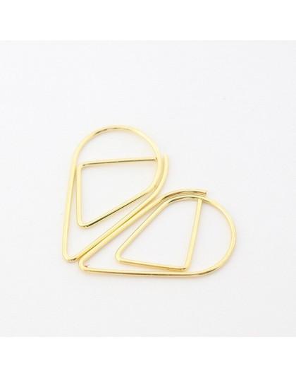 50 sztuk/partia materiał metaliczny spadek kształt spinacze do papieru różowe złoto Kawaii zakładki spinacz biurowy szkoła papie