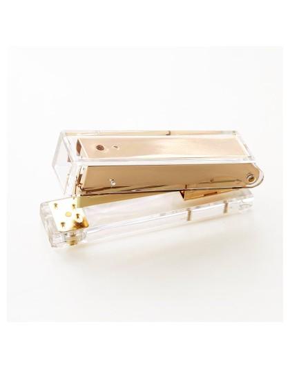 Luksusowe różowe złoto złoto instrukcja zszywacz moda Metal akryl zszywacz 24/6 26/6 zawiera 1000 sztuk zszywki grapadora papela