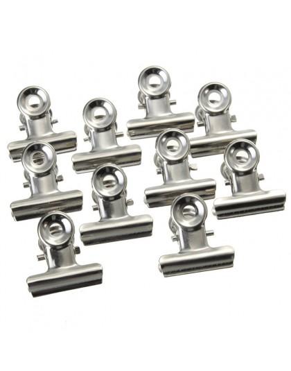 10 sztuk 22mm okrągłe metalowe klipsy z uchwytem srebrny buldog klip ze stali nierdzewnej bilet klip piśmienne