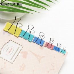 EZONE 20 sztuk kolorowe metalowe klipsy do segregatorów spinacze do papieru 15/19mm szerokości Home Office kolorowe książki plik