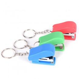 Losowy kolor zszywacz stałe materiały biurowe śliczne Mini bez zszywacza uczeń użyj małych przenośnych plastikowych zszywek