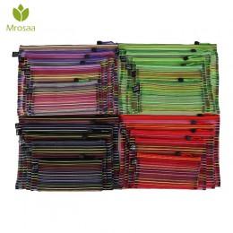Mrosaa A4 A5 B4 B5 B6 kolorowe wodoodporny Nylon przezroczysta siateczka zamek błyskawiczny torba folder magazyn materiałów piśm