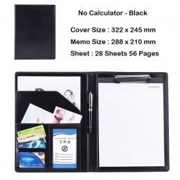 Teczka skórzana A4 PU z kalkulatorem wielofunkcyjne materiały biurowe organizator Manager podkładki na dokumenty teczka torby na