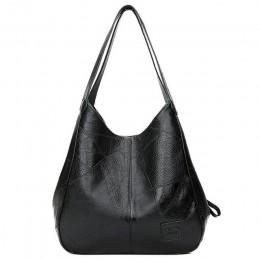 Elegancka skórzana duża torebka damska młodzieżowa z paskami na ramię pakowna modna klasyczna oryginalna