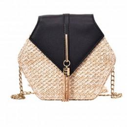 Hexagon Mulit Style słoma + skórzana torebka damska letnia torebka ratanowa ręcznie tkana plaża koło Bohemia torba na ramię New