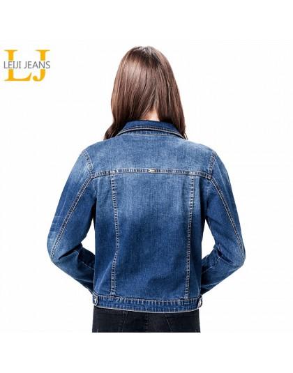 2020 LEIJIJEANS kobiety Plus rozmiar 6XL długa podstawowa jeansowa kurtka płaszcz Bleach pełna rękawy pojedyncze piersi szczupła