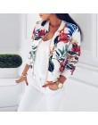 Kwiatowa wiosenna damska kurtka Bomber Plus rozmiar krótki damski płaszcz Zipper Chaqueta znosić kurtki damskie z długim rękawem