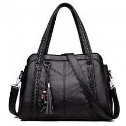 Kobiety torebka z prawdziwej skóry skórzana tote torby Tassel luksusowe damskie torebki na ramię skórzane damskie torebki modne
