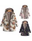 Damskie jesienne zimowe płaszcze na co dzień ciepła odzież wierzchnia kwiatowy Print z kapturem kieszenie Vintage płaszcze overs