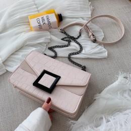 Wzór z kamieniem torby na ramię ze skóry PU dla kobiet 2020 mała na ramię Messenger torba kobiet luksusowe łańcuch torebki i por