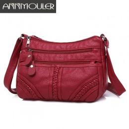 Annmouler moda damska torba Pu miękka skórzana torba na ramię wielowarstwowa torba Crossbody jakość woreczek marki czerwona tore