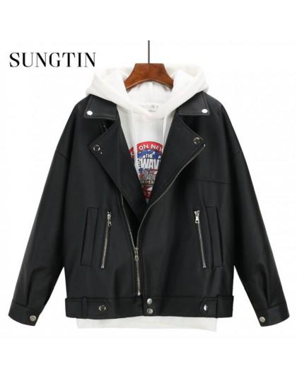 Sungtin miękki luźny kurtka ze skóry sztucznej kobiet czarny Biker kurtka motocyklowa krótki Faux Leather Streetwear kobieta Pun