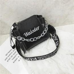Yogodlns moda fala panie list torebki szeroki pasek torebka na ramię z łańcuszkiem kobiety Crossbody torby Bolsa 2020 dziewczyny