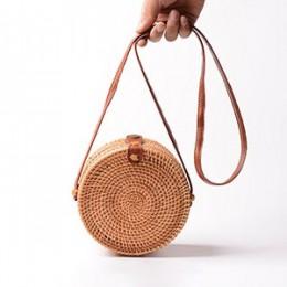 Vintage Handmade kobiety torebka ratanowa tkane łuk torby na ramię słomiana torba plażowa posłańcy B161