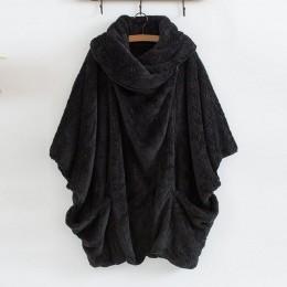ZANZEA damski puszysty płaszcz ponadgabarytowe kurtki z długim rękawem damski guzik znosić zimowe ciepłe ponczo jednolity kolor,