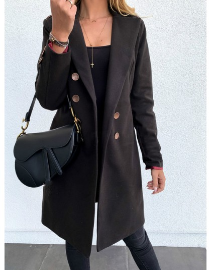 Zimowe płaszcze i kurtki damskie podwójne piersi długi płaszcz koreański elegancki płaszcz w stylu Vintage kobieta Plus rozmiar