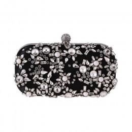 Kobiety kopertówka Rhinestone ślubna torebka z uchwytem luksusowa damska kopertówka i torebki portfele elegancka torba na ramię
