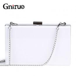 2020 nowych moda białe akrylowe kobiety portfel torebki kopertówki Box kobieta Messenger torby Wedding Party wieczór łańcuch spr