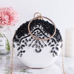 Luksusowe kobiety wesele frezowanie okrągłe torby wieczorowe Vintage diamentowy kryształ kwiat czarne białe codzienne kopertówki